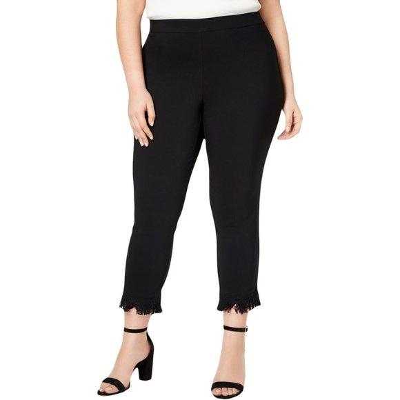 Style Co Pants Jumpsuits Nwt Macys Black Mid Rise Fringe Hem Stretch Pants Poshmark
